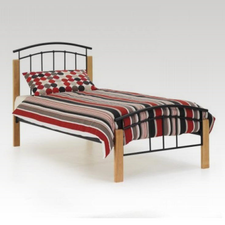 Tetras Beech and Black single Metal Bed Frame
