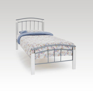 Tetras White and Silver Single Metal Bed Frame