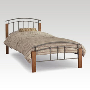Tetras Beech and Silver single Metal Bed Frame