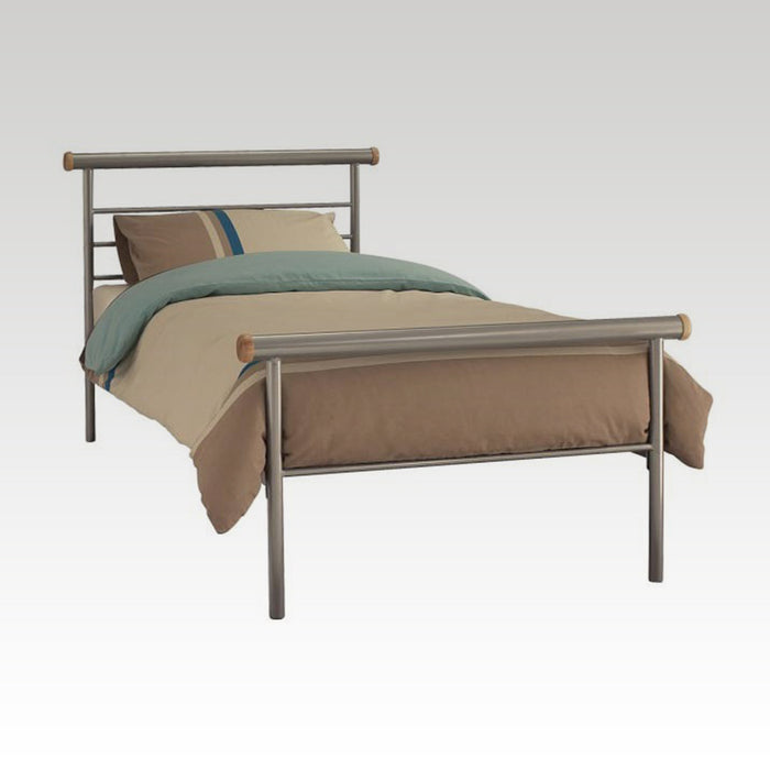 Celine Single Metal Bed in Silver