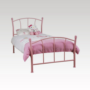 Penny Single Metal Bed Frame in Pink Gloss