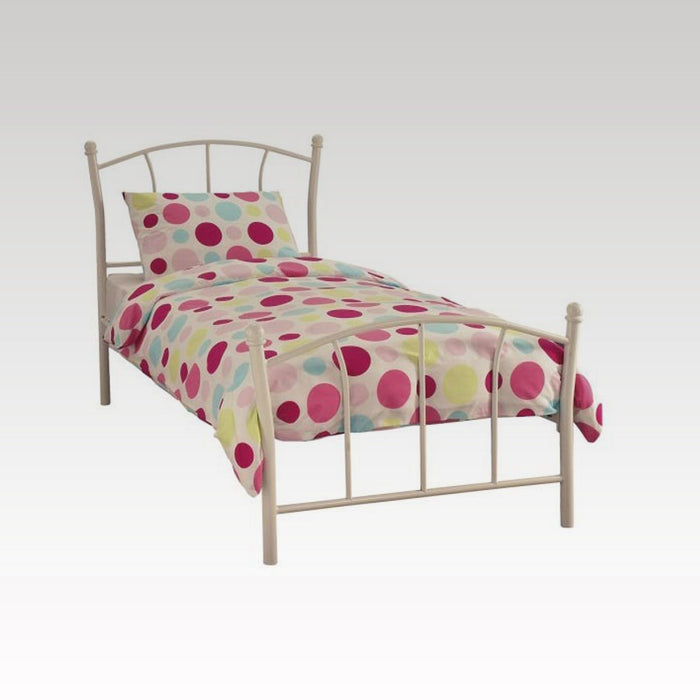 Penny Single Metal Bed Frame in White Gloss