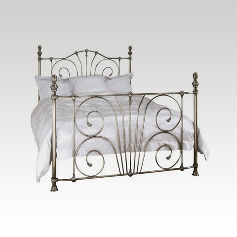 Jessica Small Double Metal Bed Frame in Antique Nickel