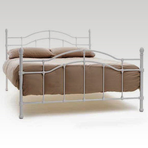 Paris Small Double Metal Bed Frame in White Gloss