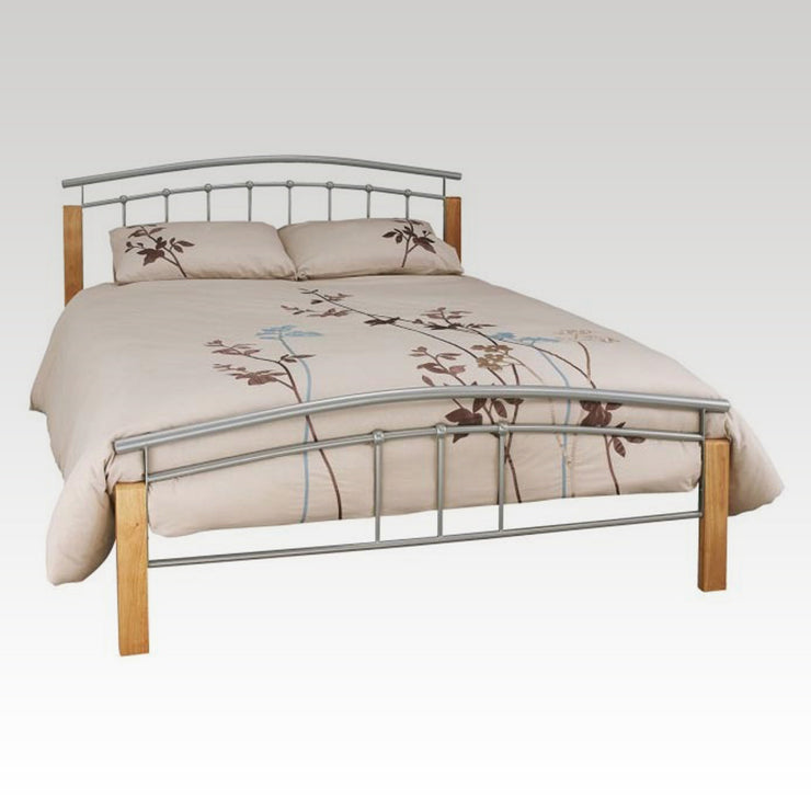Tetras Beech and Silver Small Double Metal Bed Frame