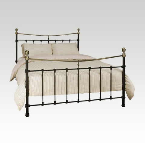 Edwardian II Black Double Bed Frame in Antique Bronze