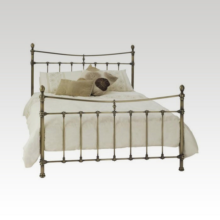 Olivia Double Metal Bed Frame in Antique Brass