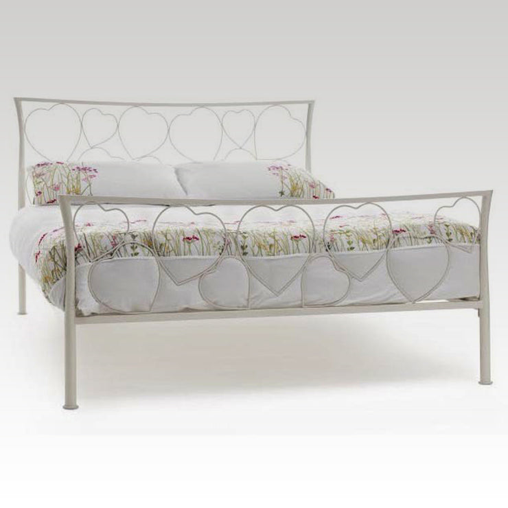 Chloe Double Metal Bed Frame in Ivory Gloss