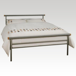 Celine Double Metal Bed in Silver