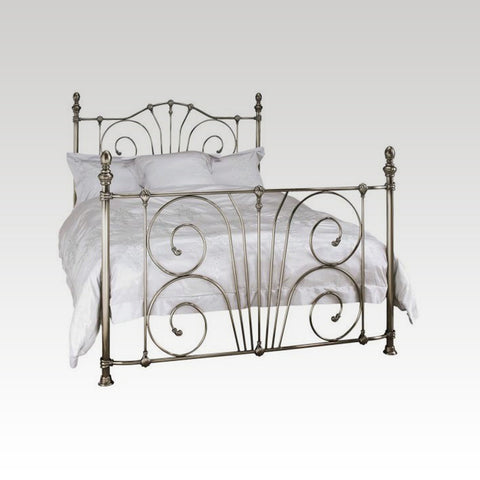Jessica King Size Metal Bed Frame in Antique Nickel