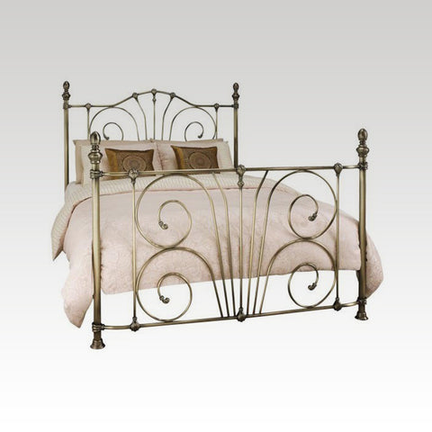 Jessica King Size Metal Bed Frame in Antique Brass