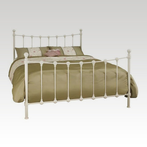 Marseilles King Size Metal Bed Frame in Ivory Gloss