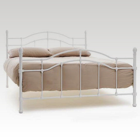 Paris King Size Metal Bed Frame in White Gloss