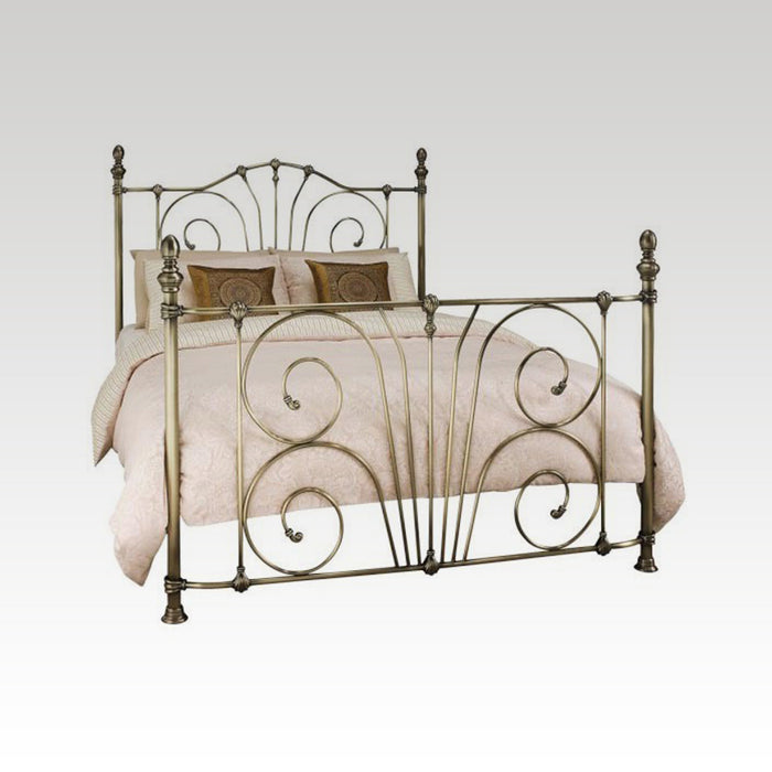 Jessica Super King Size Metal Bed frame in Antique Brass