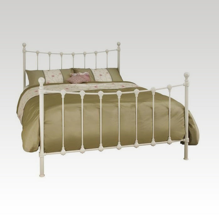 Marseilles Super King Size Metal Bed Frame in Ivory Gloss