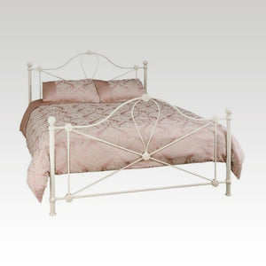 Lyon King Size Metal Bed Frame in Ivory Gloss
