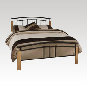 Tetras Beech and Black King Size Metal Bed Frame