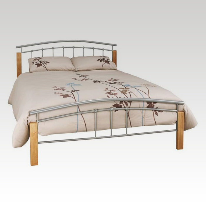 Tetras Beech and Silver King Size Metal Bed Frame
