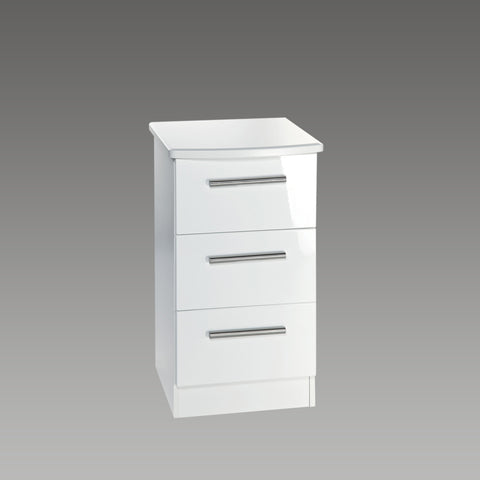 Chelsea 3 Drawer Bedside Chest (White Gloss, White Unit)