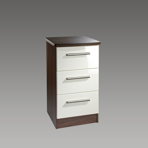 Chelsea 3 Drawer Bedside Chest (Cream Gloss, Noche Unit)