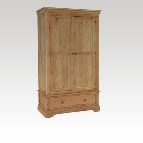 Minster Oak 1 Drawer Double Wardrobe