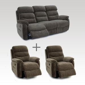 Tina Fabric 3 Seater & 2 Recliner Chair Set