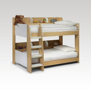 Domino Bunk Bed in White or Maple (mattresses extra)