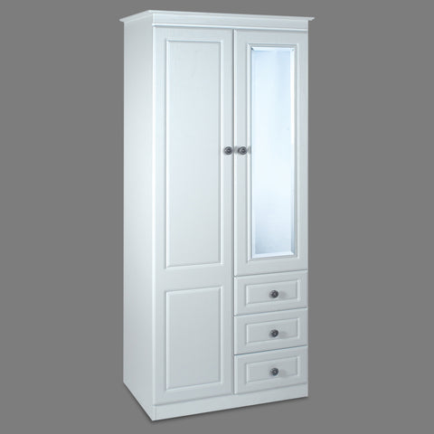 "Snow White 30"" 2 Door Combi Wardrobe"