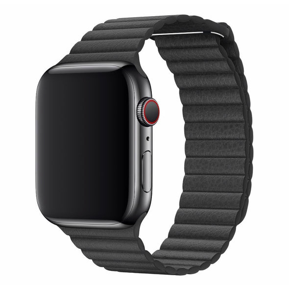 Leather Loop Apple Watch Strap (Seaweed Black)