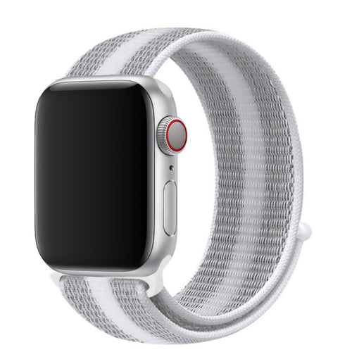 Nylon Apple Watch Strap - (Simple White/Gray)