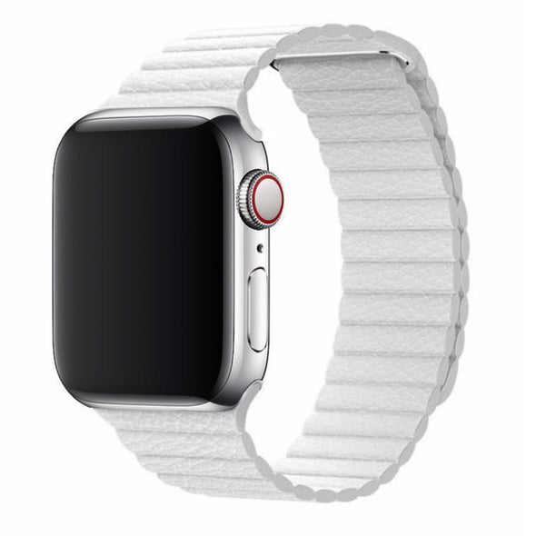 Leather Loop Apple Watch Strap (White Cloud)