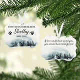 Forever In Our Hearts Personalized Pet Memorial Christmas Ornament - Kelegant Studios