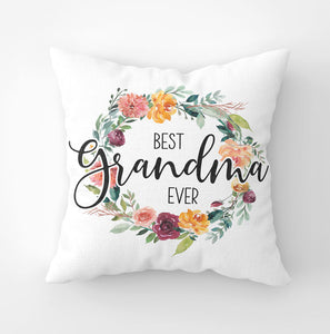 White canvas throw pillow with 'Best Grandma Ever' saying and paprika floral wreath