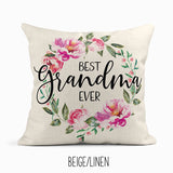 Beige linen throw pillow with 'Best Grandma Ever' saying and pink peony wreath