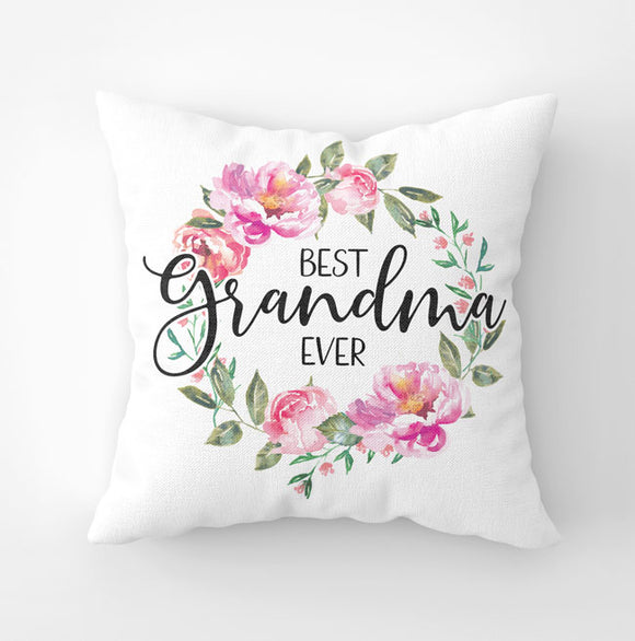 White canvas throw pillow with 'Best Grandma Ever' saying and pink peony wreath