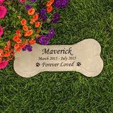 Personalized Concrete Dog Bone Pet Memorial Stone - Kelegant Studios