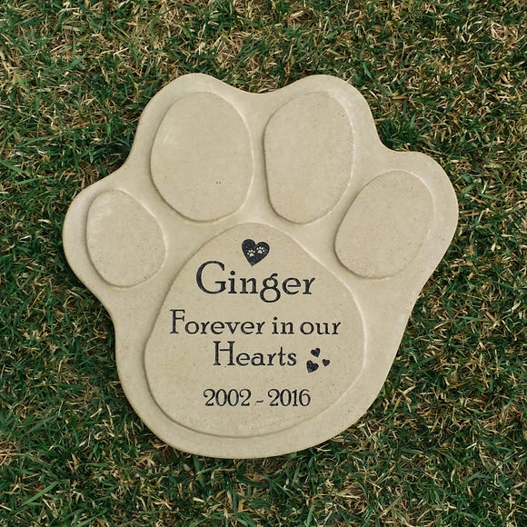 Extra Large Concrete Personalized Paw Print Pet Memorial - Kelegant Studios