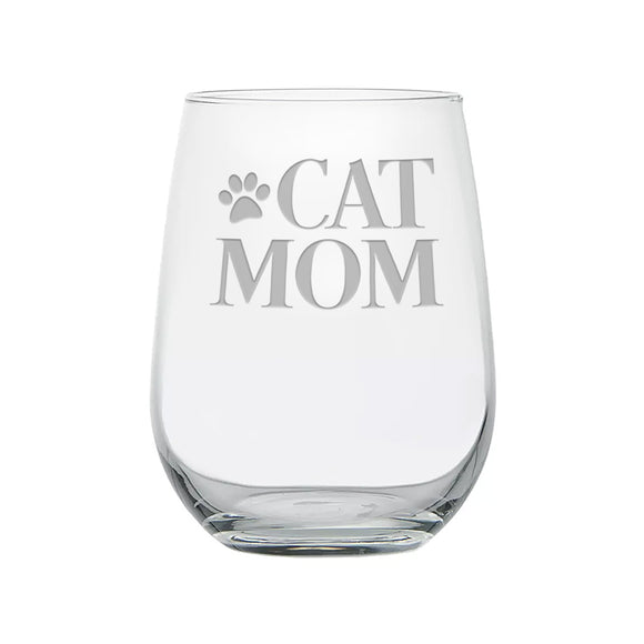 Cat mom etched stemless wine glass with paw print.