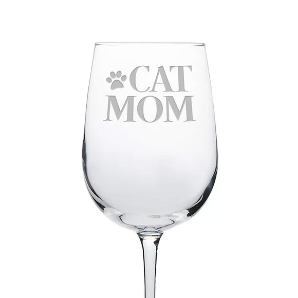 Cat Mom Etched Wine Glass With Paw Print