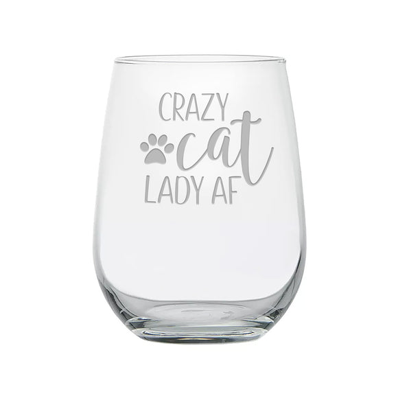 Crazy Cat Lady AF Etched Stemless Wine Glass With Paw Print - Kelegant Studios