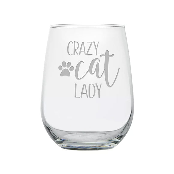 Crazy Cat Lady Etched Stemless Wine Glass With Paw Print