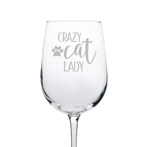 Crazy Cat Lady Etched Wine Glass With Paw Print