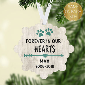 Personalized Pet Memorial Snowflake Ornament - Boho - Teal
