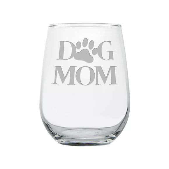 Dog Mom With Paw Print Etched Stemless Wine Glass