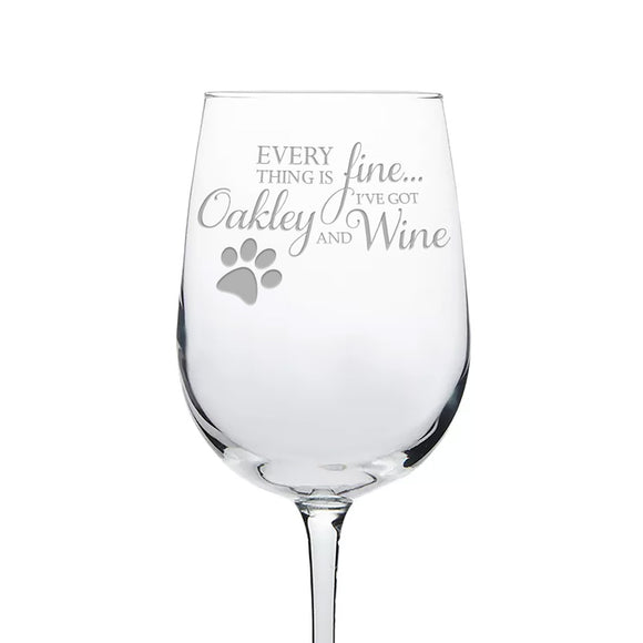 'Everything Is Fine' Personalized Etched Wine Glass With Paw Print - Kelegant Studios