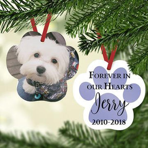 Paw Print Pet Memorial Personalized Photo Ornament - Blue
