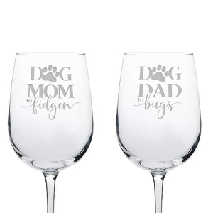 Personalized Dog Mom and Dad Engraved Wine Glass