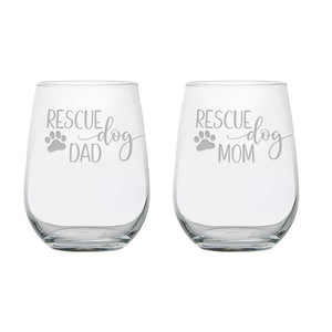 Rescue Dog Mom and Dad Engraved Stemless Wine Glass