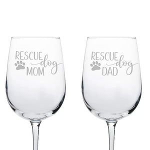 Rescue Dog Mom & Dad Etched Wine Glass Set