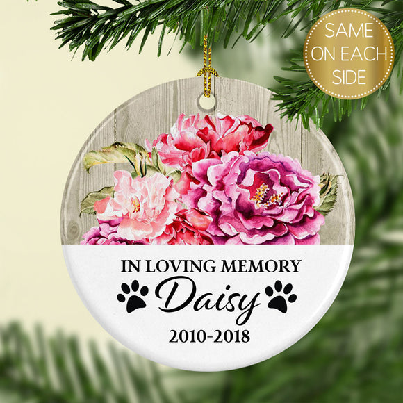 Ceramic Personalized Pet Memorial Christmas Ornament - Bright Floral - Kelegant Studios